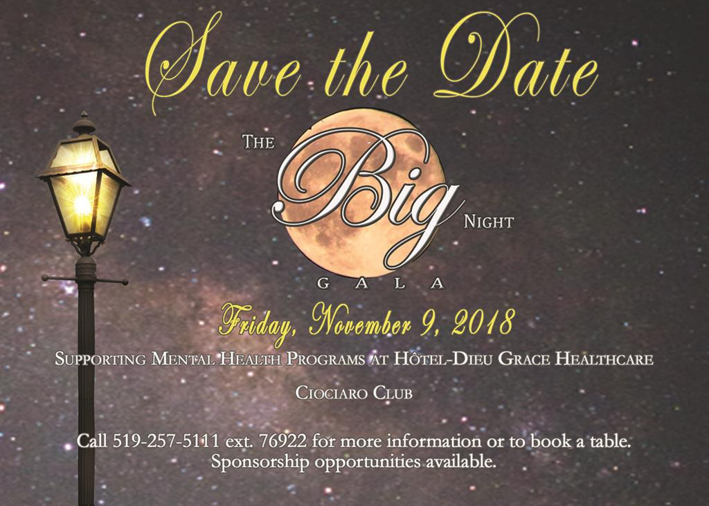 Save the Date - The Big Night Gala on Friday, November 9, 2018