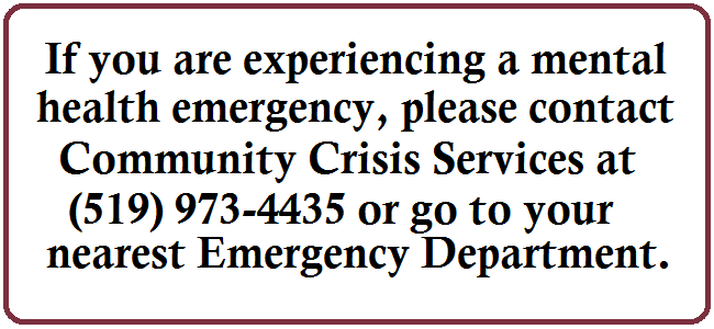 Call Community Crisis Centre for mental health emergency
