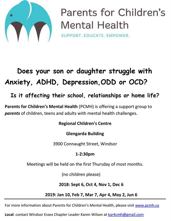 Parent's for Children's Mental Health 2018-2019 flyer